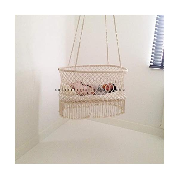OLDFAI Baby Cradle Hanging Bassinet, Portable Baby Handmade Natural Cotton Swing Hammock for Boys Girls, Comfortable Breathable Large Capacity Hanging Crib Indoor Outdoor OLDFAI [BABY CRADLE BASSINET]Adorable hanging cradle soothes infants with a safe and comfortable place to sleep - Perfect addition to baby nursery or bedroom [SOOTHING & COMFORTABLE]Lulls baby to sleep with gentle rocking movement like a hanging baby hammock - Parents can rock cradle or let baby's movements gently move the baby swing crib - Gives new parents relaxation and peace of mind [INDOOR/OUTDOOR]Place the baby hammock bed cradle anywhere with sturdy suspension - Baby Nursery, living room, bedroom, basement, spare room, sunroom, patio, backyard, and more - Suspend beside your bed indoors or place the baby portable swing outdoors for a relaxing scenery - Practical alternative for those seeking more options than traditional crib 6