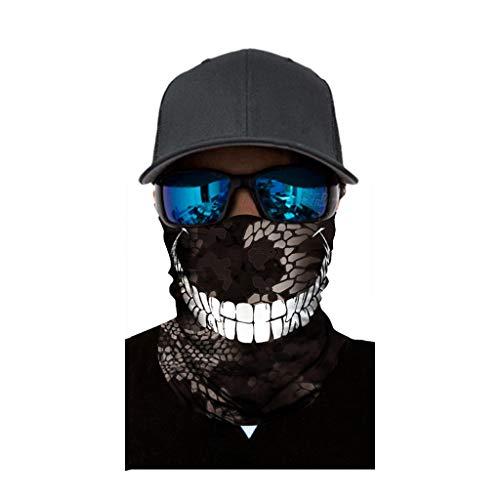 cinnamou Multiunktionstuch Maske Schal Kälteschutz Gesichtsmaske Fishing Totenkopf Schal Skull Bandana Gesichtsmaske Halstuch Ski Motorrad Paintball Halloween Maske (25CM X 50CM, H)