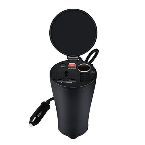 150W Inversor de corriente de Coche Transformador Voltaje Portable 12V a 220V con Dos Puertos para Cargar / Toma de Encendedor Mechero de Coche -