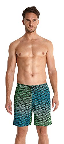 speedo-mens-beattastic-sports-print-watershorts-black-fluo-green-aquarium-large-18-inch