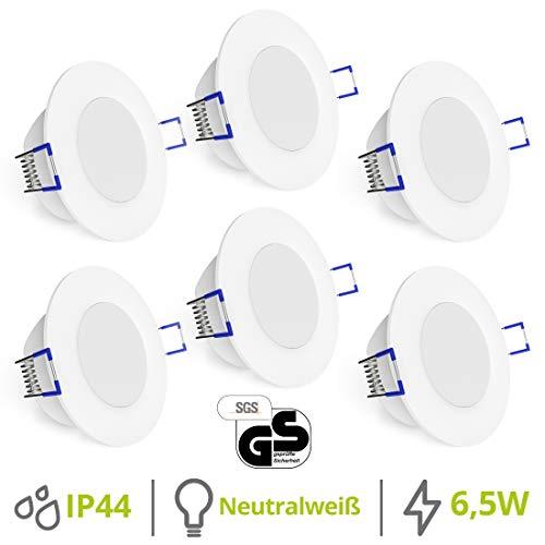 linovum® WEEVO 6er Set runde LED Einbaustrahler für Bad & Außen IP44 mit 4000K neutralweiß 6,5W - Spot extra flacher Einbau 29mm