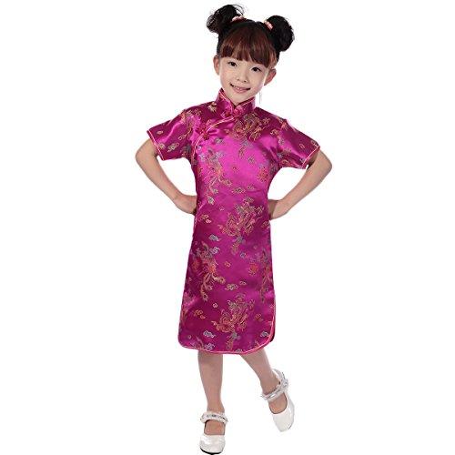 FYMNSI Kinder Baby Mädchen Chinesisches Kleid Qipao Cheongsam Drache Phoenix Stickerei Kurzarm Festkleid Etuikleid Stehkragen Midi Hochzeit Geburtstag Fasching Partykleid Rose 9-10 Jahre