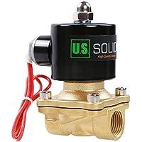 """U.S. Solid 220V AC 1/2"""" G Válvula de solenoide eléctrica Latón Normalmente Cerrado Solenoid Valve Impulsado Directamente para Agua Aire Aceite Diesel Viton Material del sello"""
