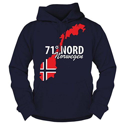 Männer und Herren Kapuzenpullover 71 Grad Nord NORWEGEN (mit Rückendruck)