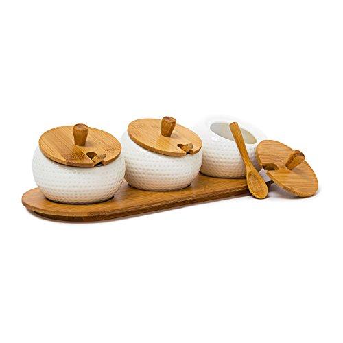 Relaxdays 10019133 Gewürzhalter Jiao aus Keramik mit Deckel und Halter aus Bambus als Gewürzständer für den Tisch inklusive passender Löffel im chinesischen Stil, natur