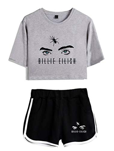 SIMYJOY Billie Eilish Fans Damen T-Shirt Anzug Hiphop Musik Suit Casual Mädchen Kurzarm kurz Hosen Grau&Schwarz XS - Damen-musik-t-shirts