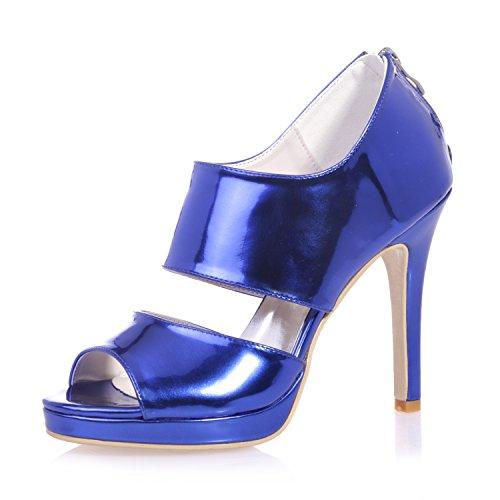 Chalmart Sandales Femme Chaussure à Talon Mariage Escarpins Aiguille Soirée élégant Bleu