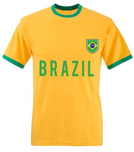 laylawson World Cup T-Shirt Mens Adults Football Tee England Brazil Italy Germany Poland[3XL][Brazil]