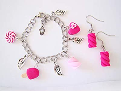 Coffret cadeau anniversaire Bracelet boucles d'oreilles fimo bonbons rose enfant