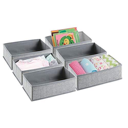 mDesign 6er Aufbewahrungsboxen Set – Graue Aufbewahrungsboxen Kunststoff – Kinderschrank Schubladen Organizer für Kleidung, Kosmetik, Windeln, Tücher, Lotion, Medikamente