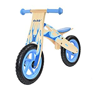 deAO Wooden Balance Bike Without Pedals Multiple Colours and Designs *flame blue*