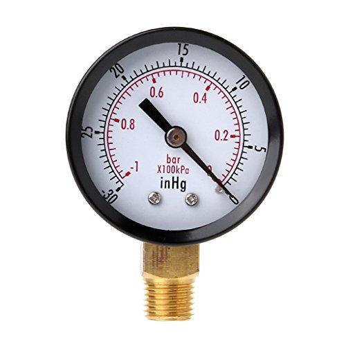 Rongzou Manometer Vakuum Mini Dial Luftdruckmesser Double Scale BAR InHg 1/4