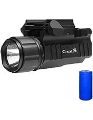 Lampe Torche Tactical, CrazyFire Lampe de Chasse, Outil d'éclairage de Tactique, Militaire Tactique LED Torche pour Pistolets Compacts + 900mAh LC 16340 Batterie