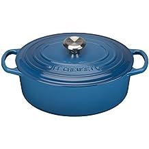 Le Creuset Evolution - Cocotte oval, de hierro colado esmaltado, 27 cm, color azul marsella