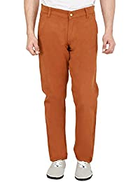 Nimegh Orange Red Colored Cotton Casual Slim Fit Solid Trouser For Men's
