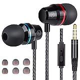 Losvick Ecouteurs Intra-Auriculaires Filaires Casque Anti-Bruit avec Microphone avec Jack 3,5mm et Différentes Tailles de Bouchons d'oreilles pour iPhone 6/5/Pod/iPad/MP3/Android Smartphones- Noir