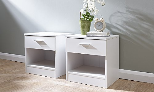 Home Source Bedside Cabinet 1 Drawer White Gloss Bedroom