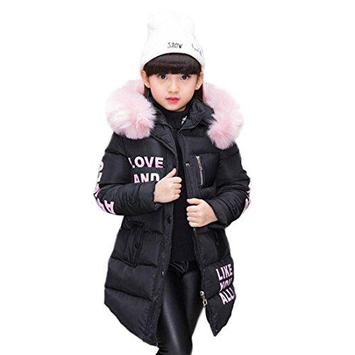 Abrigo para niña con capucha de pelo, largo, Akaufeng, chaqueta de invierno...