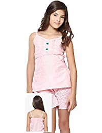 Night Suit for Girls - Cotton Material - Solid Top and Shorts Set - Sleeveless Top - Available for 8/10/12/14 Year Old Girls - Casual wear for Kids