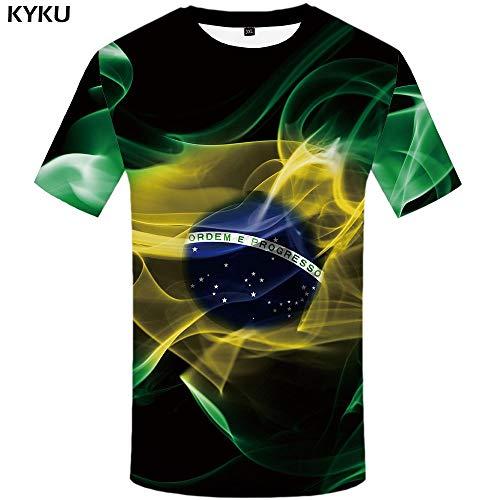 KYKU Schädel T-Shirt Männer Flügel Hip Hop T-Shirt Britische Flagge Tinte 3D Druck T-Shirt Anime Kleidung Punk Rock Mens Kleidung Streetwear -