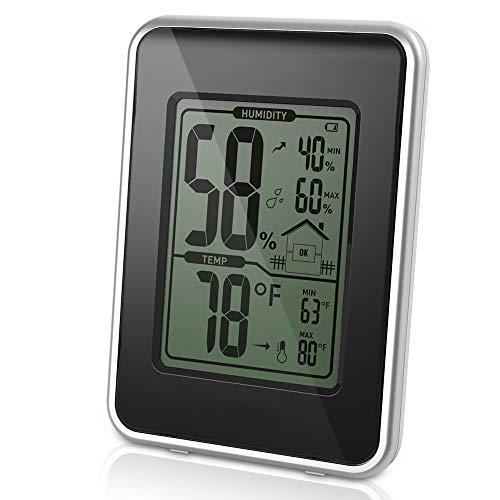 EgoEra® Digital Thermometer Hygrometer Innen Außen, Luftfeuchtigkeit / Temperatur und Luftfeuchtigkeitsmesser /Luftfeuchtigkeitsmessgerät, Schwarz