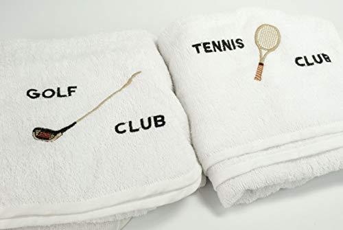 Manifattura Toscana Asciugamano Sport da Collo - Bianco, Asciugamano Tennis Club