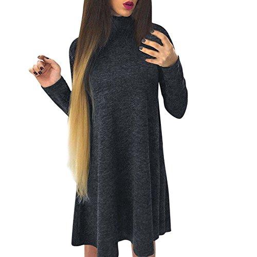 Damen Kleider Elegant,EUZeo Rollkragen Kleid Hoodie Bandage Kleid lässig Volltonfarbe Knie Kleid locker kleider (L, Dunkelgrau-Rollkragen) (Cashmere-rollkragen-kleid)