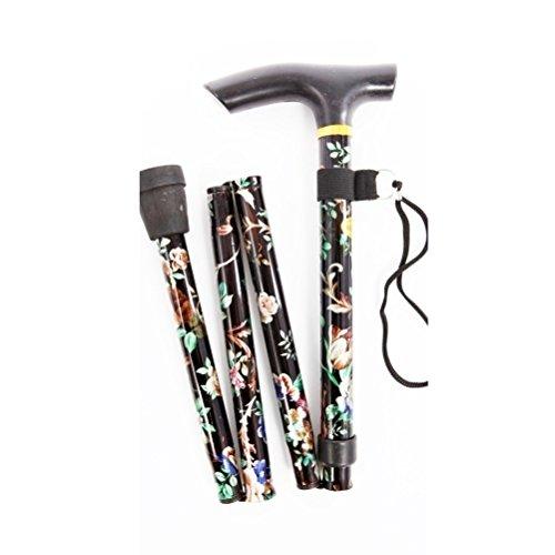 bastón plegable compacto ligero - negro floral by deliawinterfel