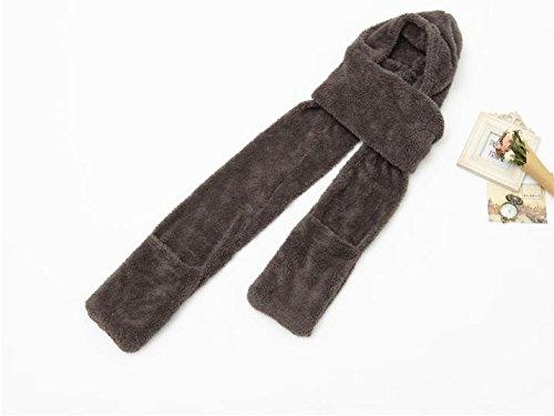 Ducomi® GeekChic- Luxury Designer Sciarpa Cappello Guanti in Uno in Pile Termico (Grey)