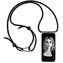 ZhinkArts Collana per cellulare compatibile con Apple iPhone 6/6S – Smartphone Necklace Cover con Band – Cordino con custodia da appendere in nero con moschettone