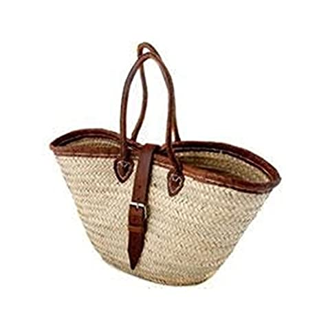 Morocco Leather Handled with Trim and Buckle Palm Leave