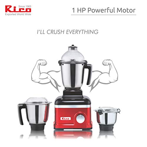 Rico Mixer Grinder 750 Watt 3 Unbreakable Jar Japanese Technology 2 Year Replacement Warranty