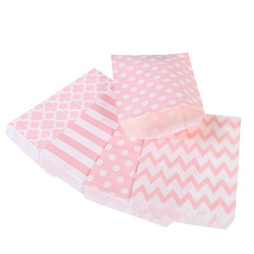 Toyvian Party Papier Candy Cookie Taschen 24pcs gestreiften Dot wellige Blume Treat Taschen Hochzeit Geburtstag Party Candy Container (4 Muster gemischt, Pink) (Candy Papier Auf Dem Dot)