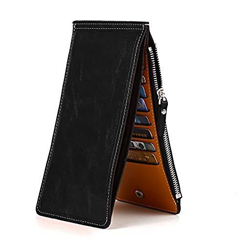 Ducomi® portafoglio 18 - portafoglio unisex con zip e 18 scomparti per carte di credito, monete e contanti - idea regalo originale per natale per lui e per lei (nero)