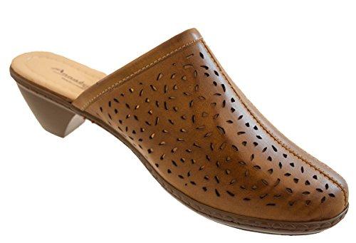Annabelle Plus Damen Clogs Pantoffeln Sandalen Slipper Absatz Schuhe Schwarz