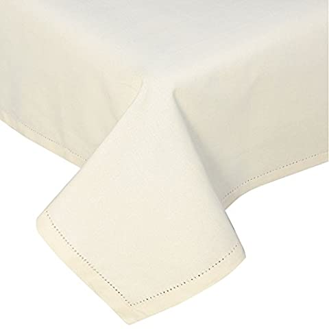 Homescapes Cream Cotton Tablecloth 6 to 8 seater Large Rectangular