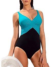 YipGrace la mujer cuello en V Plisado Talla extra Una pieza de ropa de playa doble color Traje de baño para las mujeres bañador de