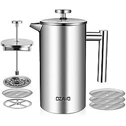 OZAVO Cafetière à Piston Filtre à Café Acier Inoxydable Réutilisable Permanent pour Café Thé, 1L