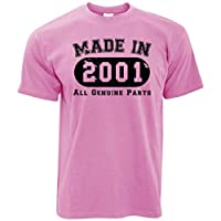Tim And Ted 18th Birthday T Shirt Made in 2001 All Genuine Parts - (Pixel Pink/Medium)