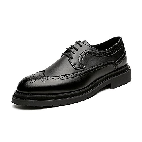 Schuhe für Herren 2018, Brogue Herren Business PU Leather Upper Lace Up Wingtip Decoration Strong Outsole OxBerisfords 44 EU ()
