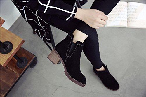 YYH Haut talon cheville cuir vintage femmes bottes chaussures Black