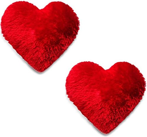 BEATLESS HEARTS Microfiber Heart Shape Pillow (Red) - Set of 2