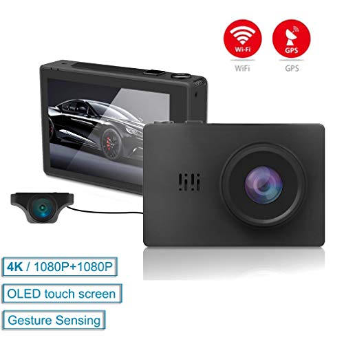SZKJ GS31 3,0 Zoll Touchscreen 4K Ultra HD GPS WiFi Auto Armaturenbrett Cam 2160P DVR mit 1080P Rückkamera Nachtsicht Dual Linse Dashcam Gesture Sensing Dvr-station