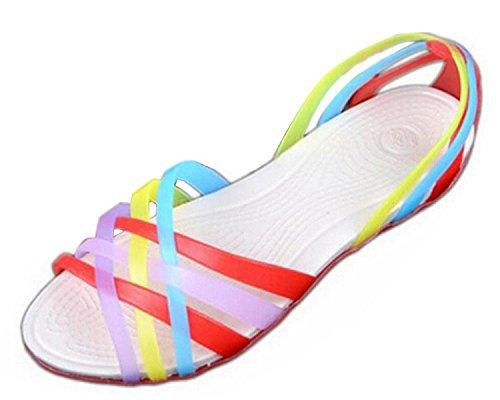 Minetom Donne Scarpe Gelatina Estate Spiaggia Sandali Piatto Tacco Pantofole Sandali Gladiatore Rosso