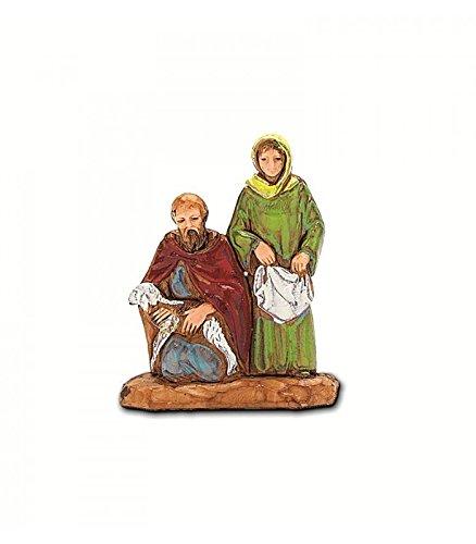 Pastori e presepi donna e pastore con pecora 3,5 cm landi - moranduzzo