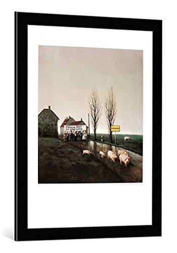 kunst für alle Bild mit Bilder-Rahmen: Michael Sowa Schweine Raus - dekorativer Kunstdruck, hochwertig gerahmt, 80x60 cm, Schwarz/Kante grau