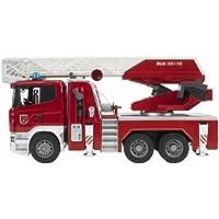 BRUDER - 03590 - Camion pompier SCANIA R-serie rouge, avec échelle et pompe à eau