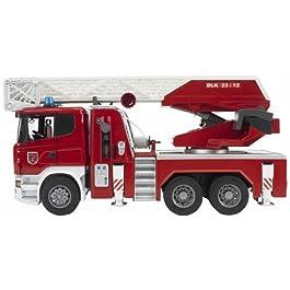 Bruder 03590 – Camion Pompieri Scania R Serie S Autopompa Luci/Suoni, Porte Apribili, Rosso