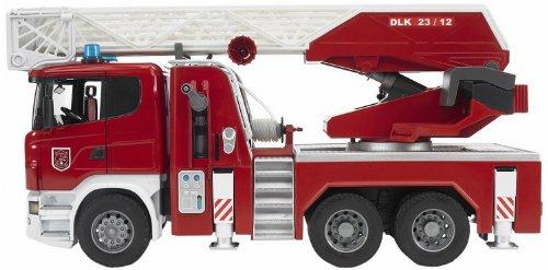 Bruder 03590 Scania R-Serie Feuerwehrleiterwagen mit Wasserpumpe und Light & Sound Modul -