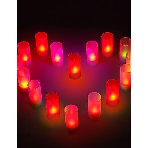 Aimili- romantica candela a forma di luce colorata notte LED per i regali di festa di nozze (8-pack)
